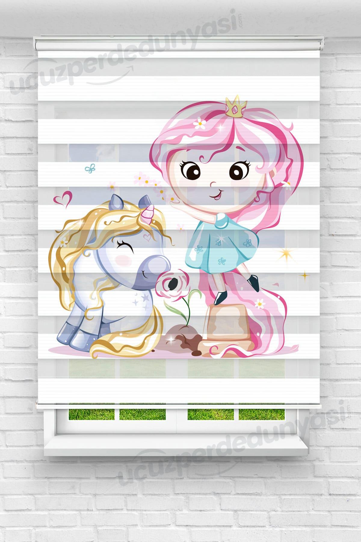 Pembe Saçlı Kız ve Unicorn Çocuk Odası Zebra Perde