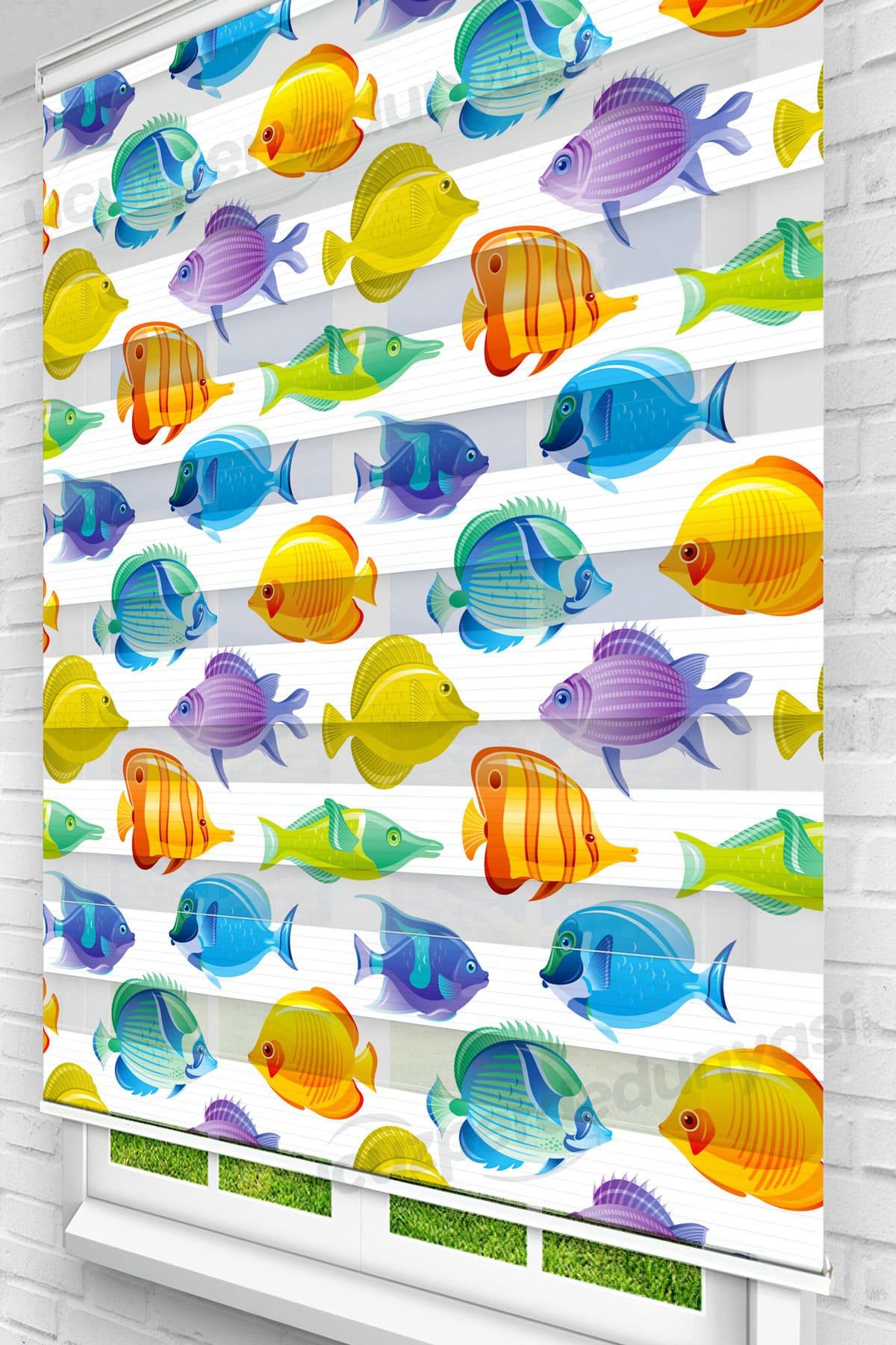 Renkli Balıklar Çocuk Odası Zebra Perde