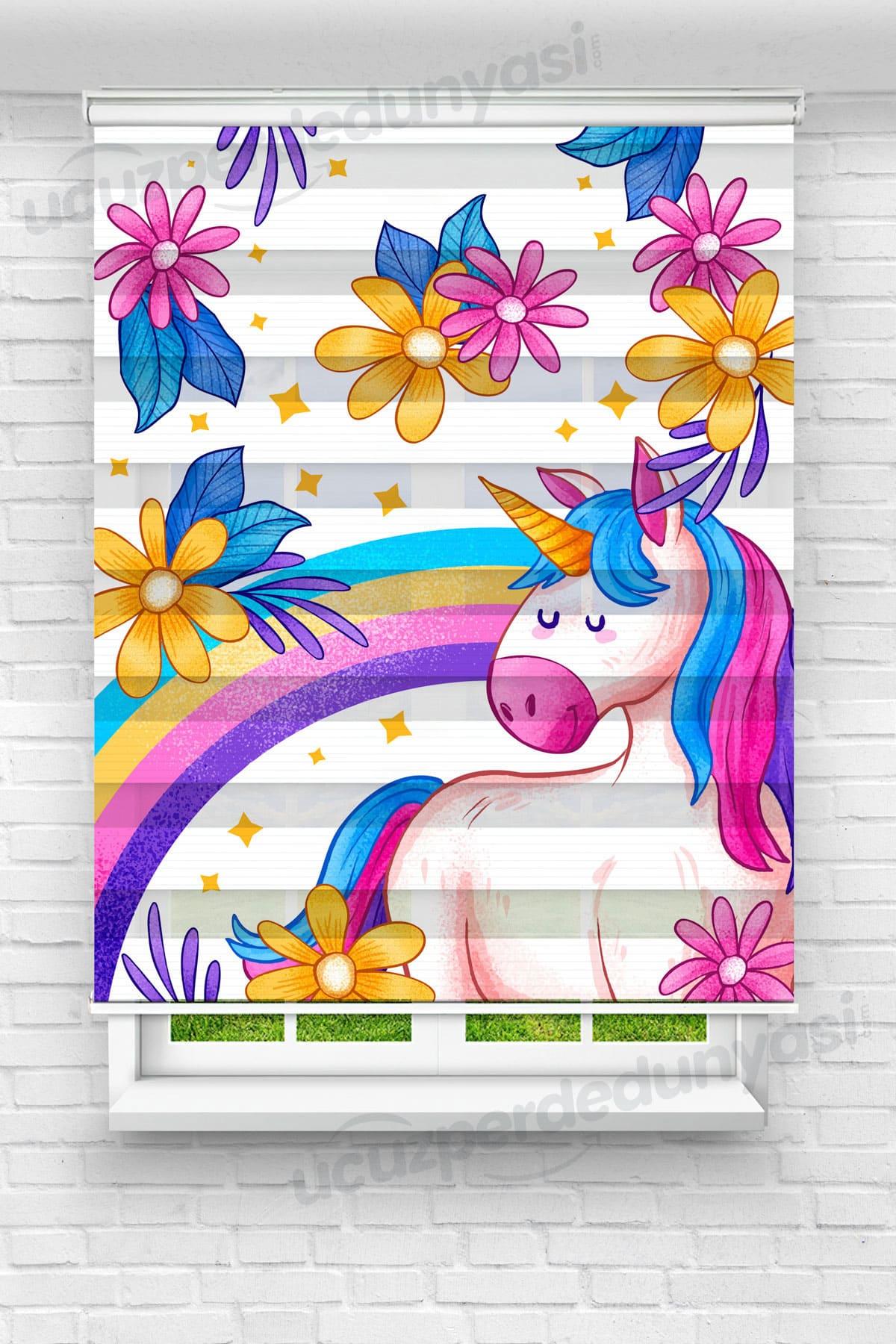 Renkli Çiçekli Unicorn Çocuk Odası Zebra Perde