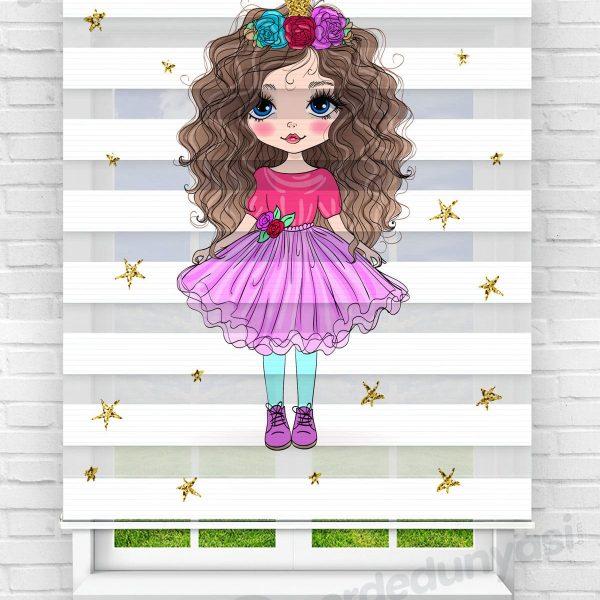 Renkli Elbiseli Prenses Çocuk Odası Zebra Perde