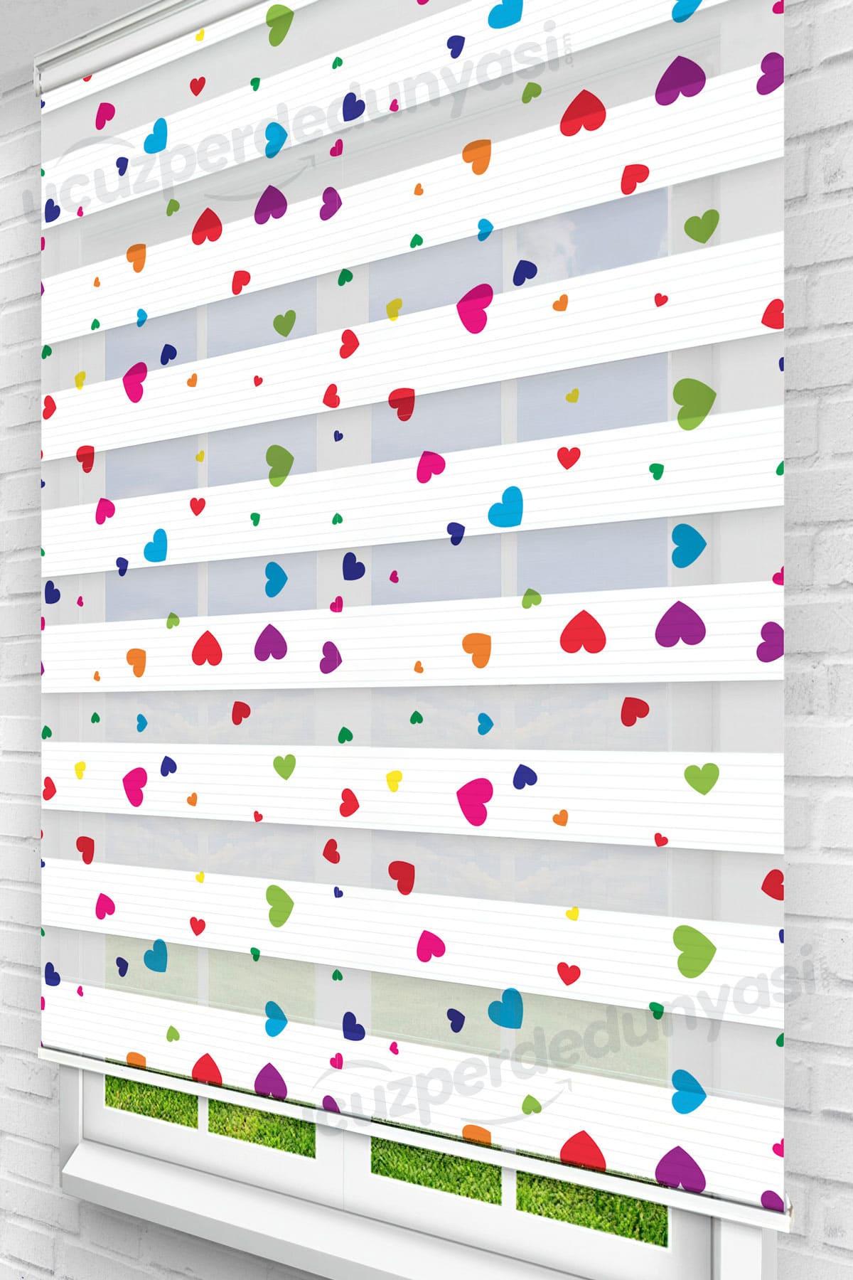 Renkli Kalpler Çocuk Odası Zebra Perde
