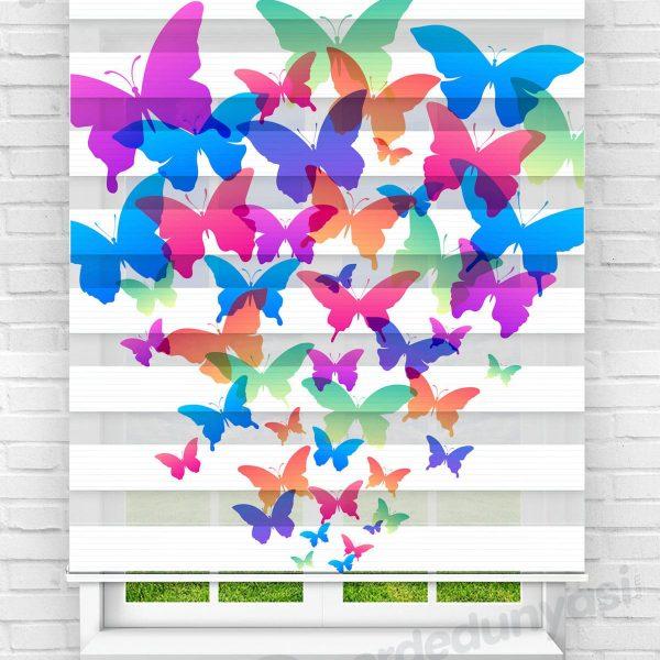 Renkli Kelebekler Çocuk Odası Zebra Perde