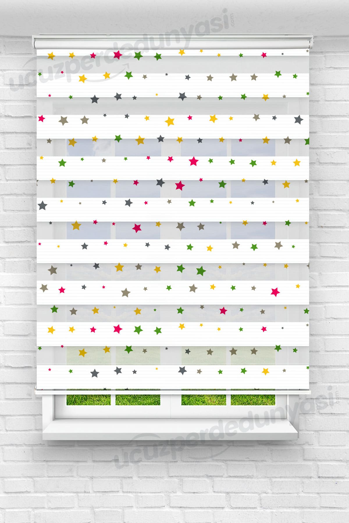 Renkli Küçük Yıldızlar Çocuk Odası Zebra Perde