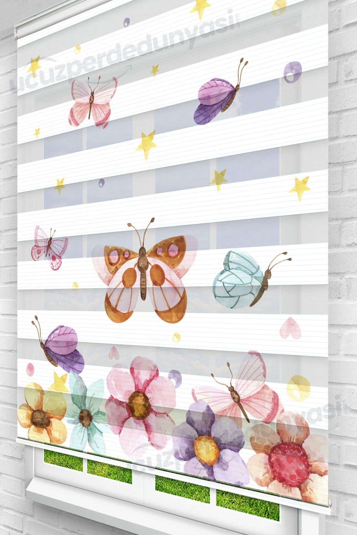 Renkli Papatyalar ve Kelebekler Çocuk Odası Zebra Perde