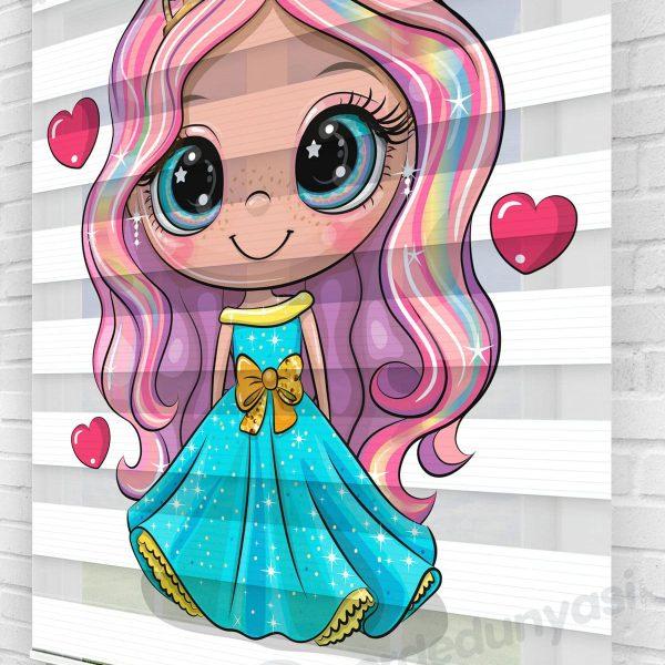 Renkli Saçlı Prenses Çocuk Odası Zebra Perde