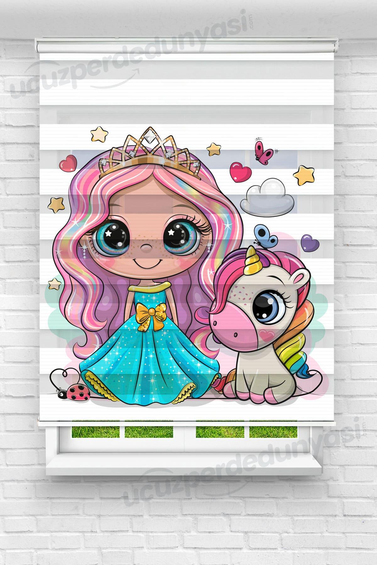 Renkli Saçlı Prenses ve Unicorn Çocuk Odası Zebra Perde