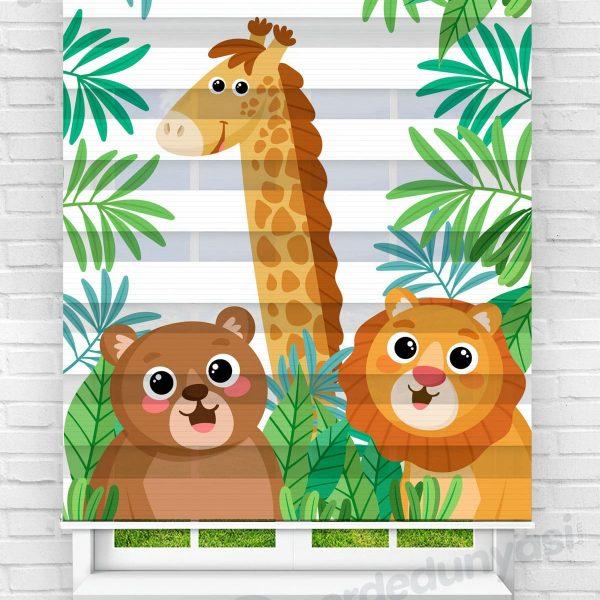 Safari Hayvanları Çocuk Odası Zebra Perde