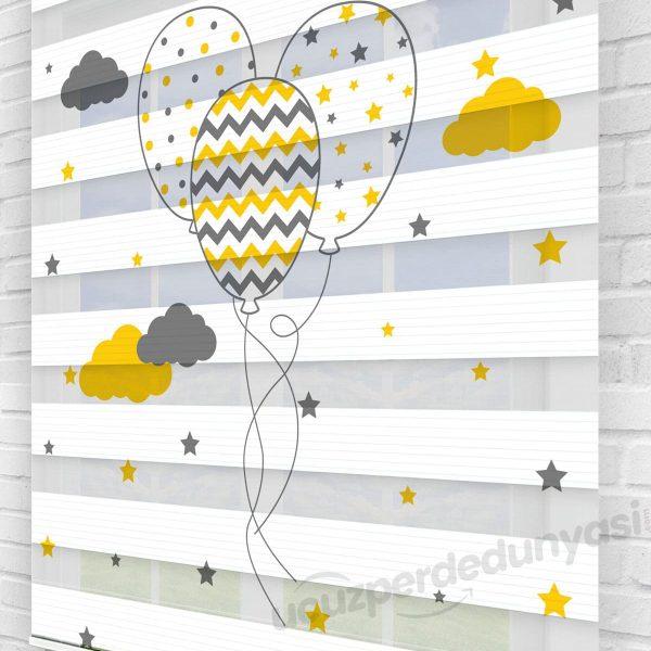 Sarı Siyah Motifli Balonlar Çocuk Odası Zebra Perde