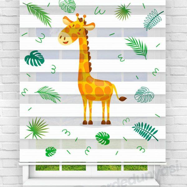 Sarı Zürafaa Çocuk Odası Zebra Perde