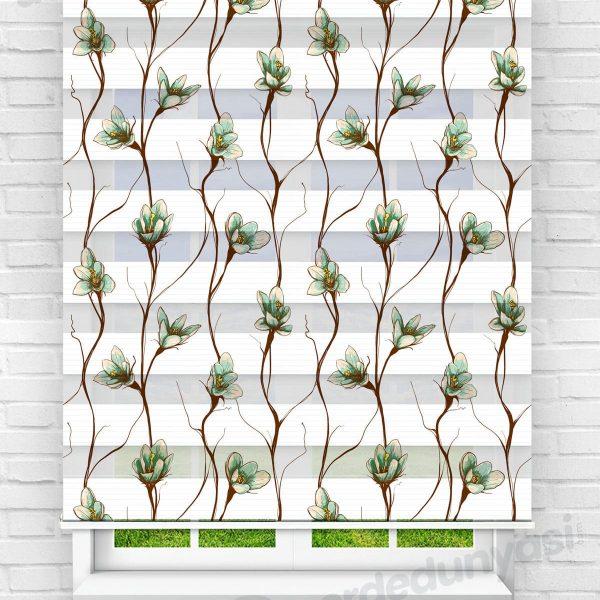 Sarmaşık Çiçekler Mutfak Zebra Perde