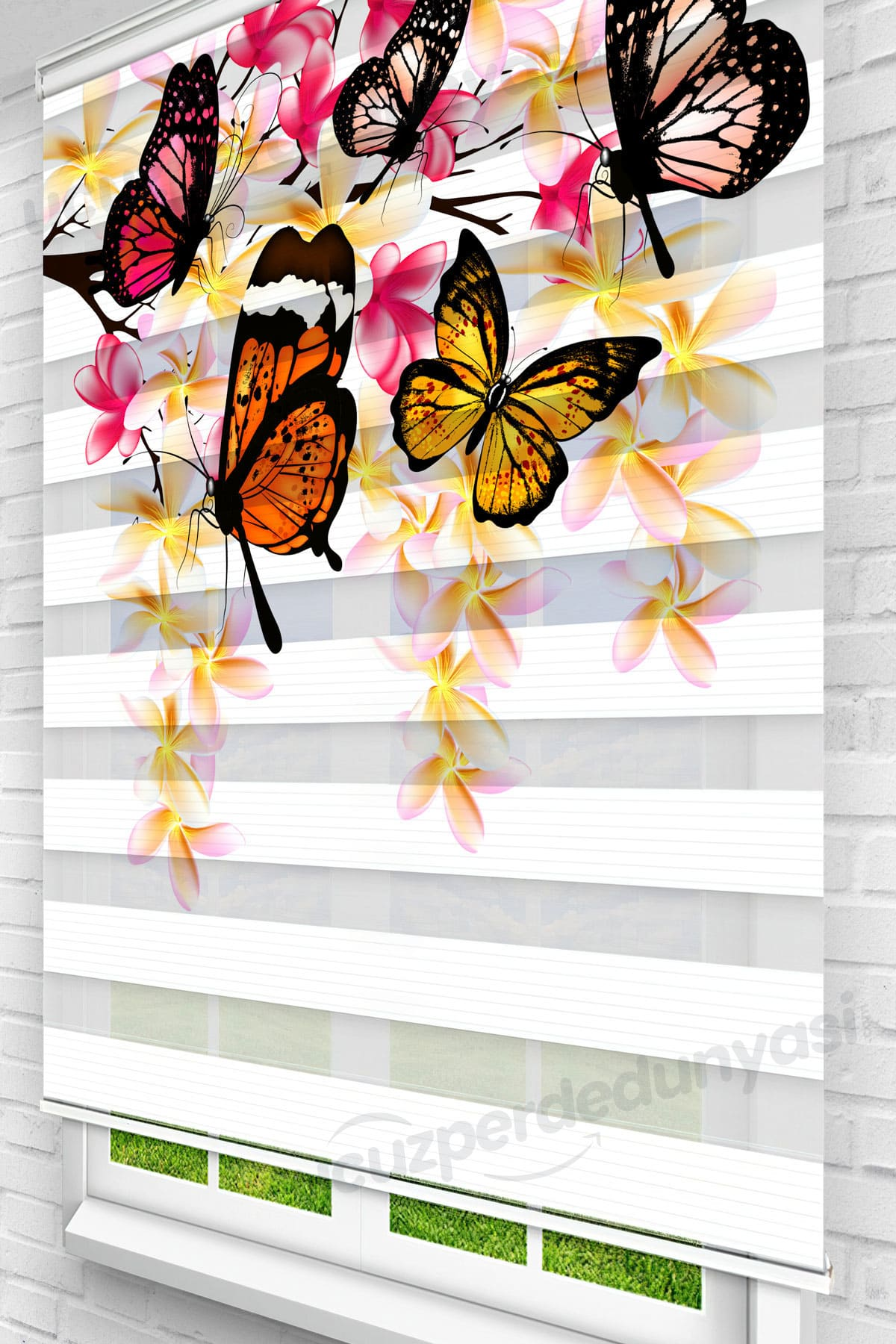 Sarmaşık ve Kelebekler Mutfak Zebra Perde