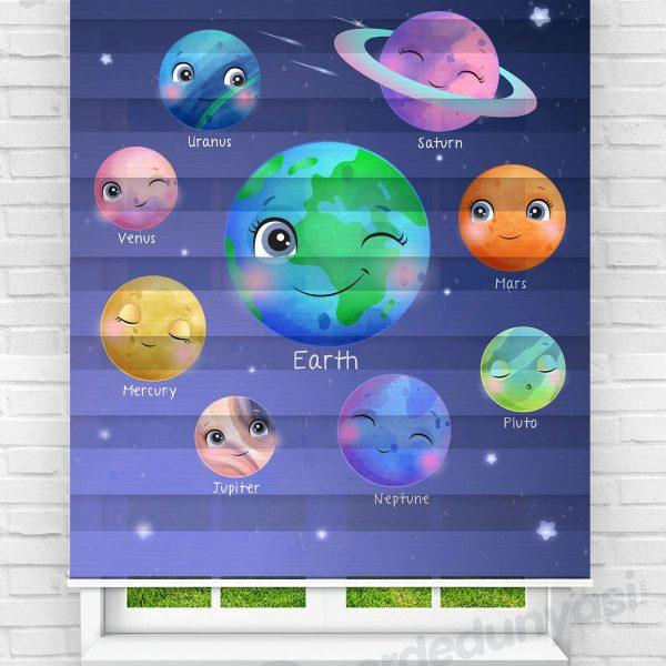 Sevimli Gezegenler Çocuk Odası Zebra Perde