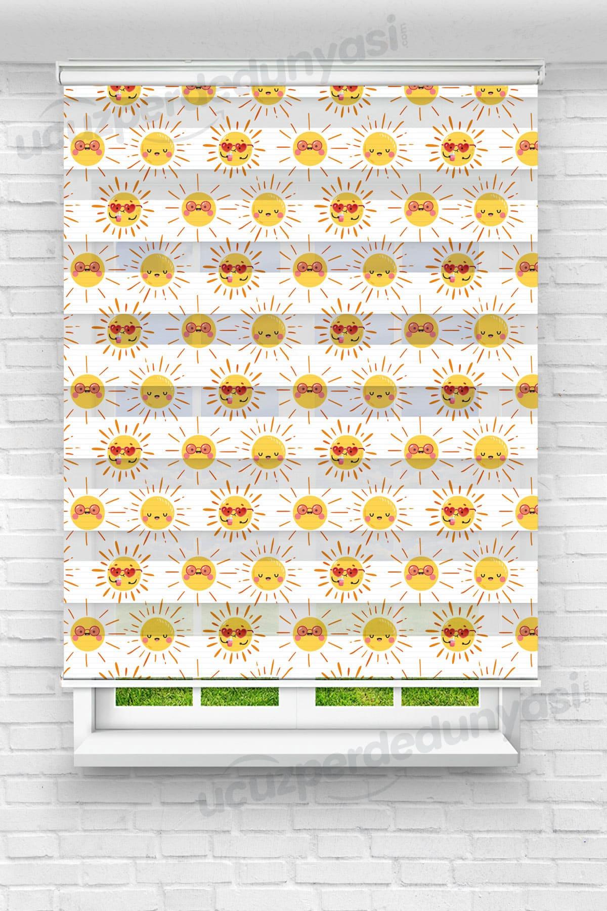 Sevimli Güneşler Çocuk Odası Zebra Perde