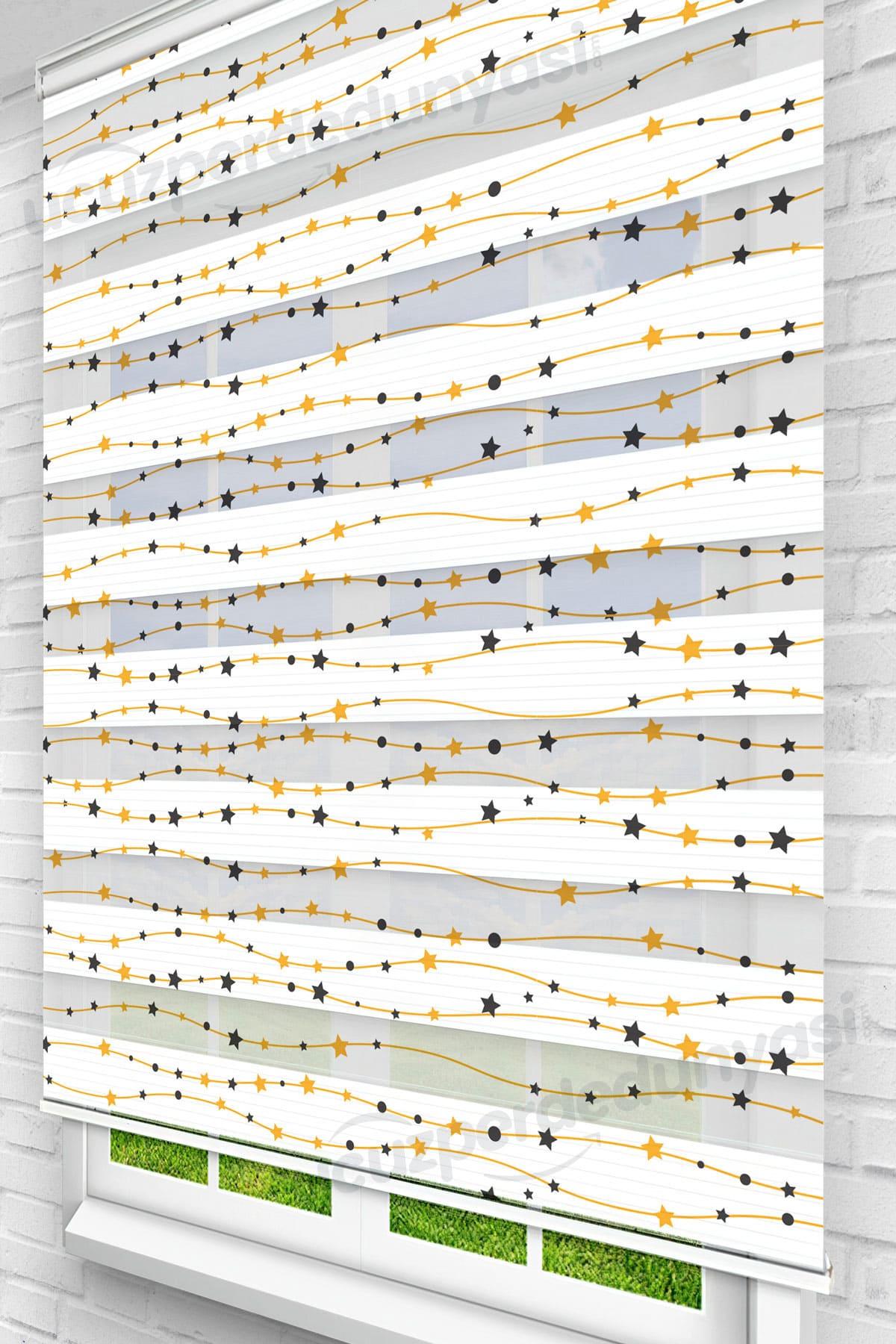 Sıralı Siyah Sarı Yıldızlar Çocuk Odası Zebra Perde