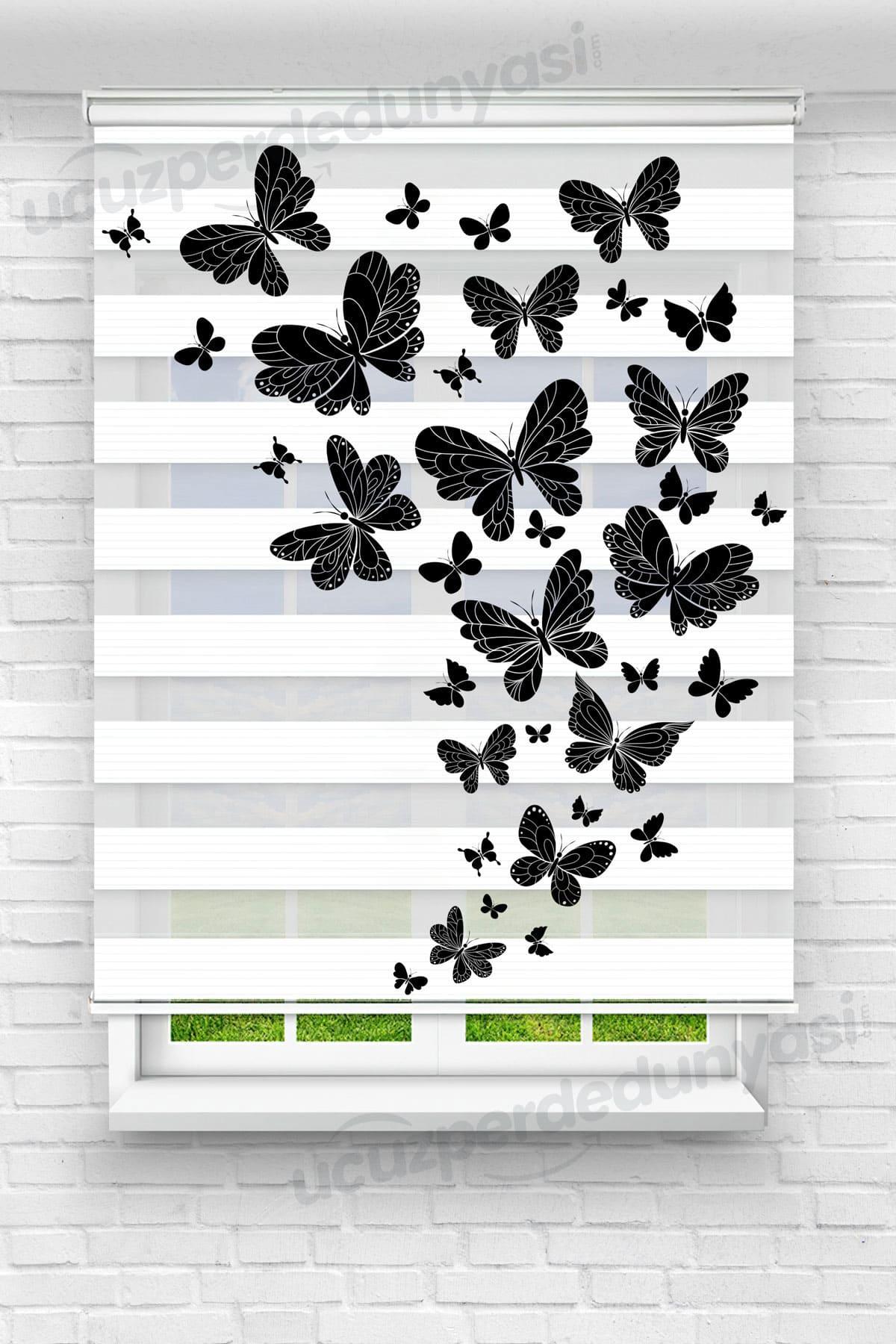 Siyah Göç Kelebekleri Çocuk Odası Zebra Perde