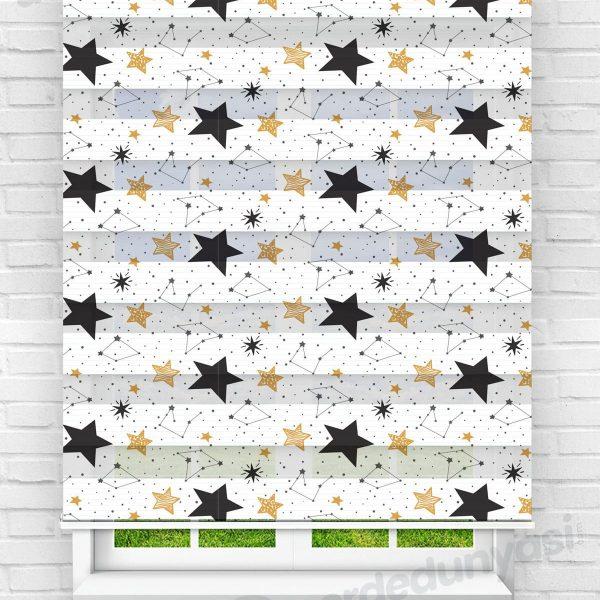 Siyah Gold Yıldızlar Çocuk Odası Zebra Perde