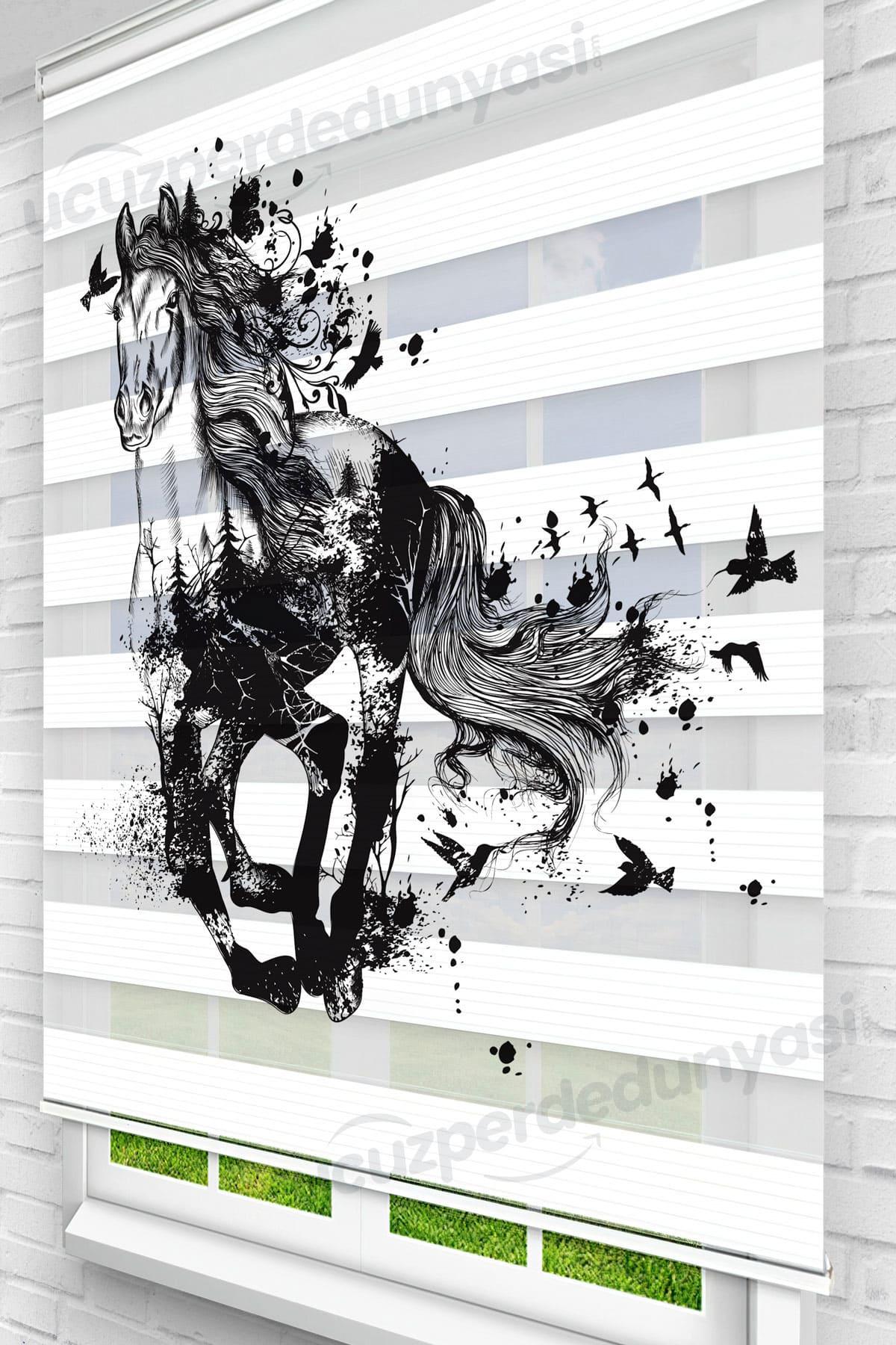 Siyah Koşan At Genç Odası Zebra Perde