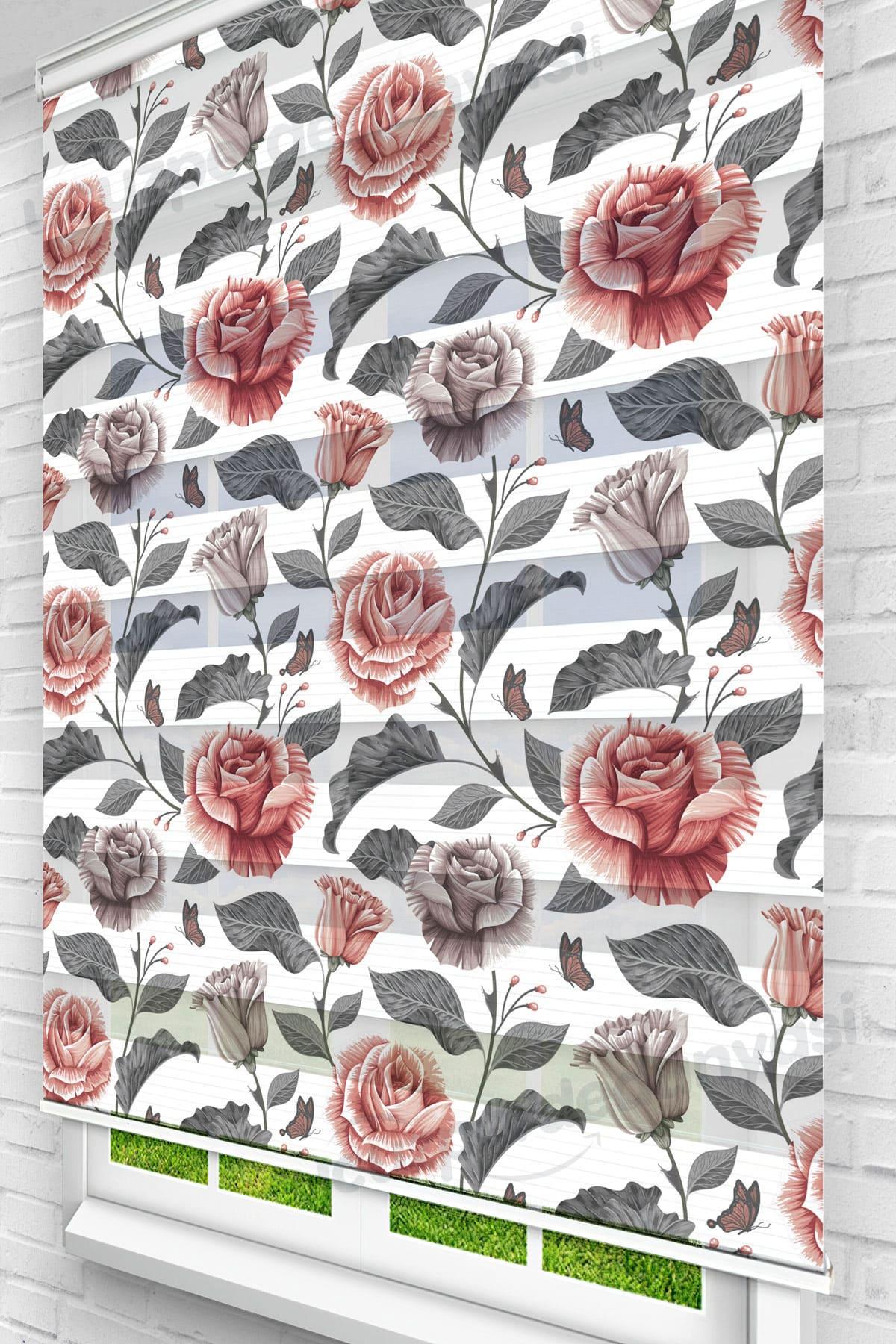 Siyah Pembe Güller Çiçekli Zebra Perde