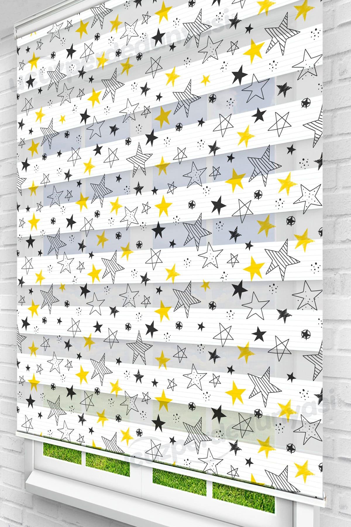 Siyah Sarı Çizgili Yıldızlar Çocuk Odası Zebra Perde