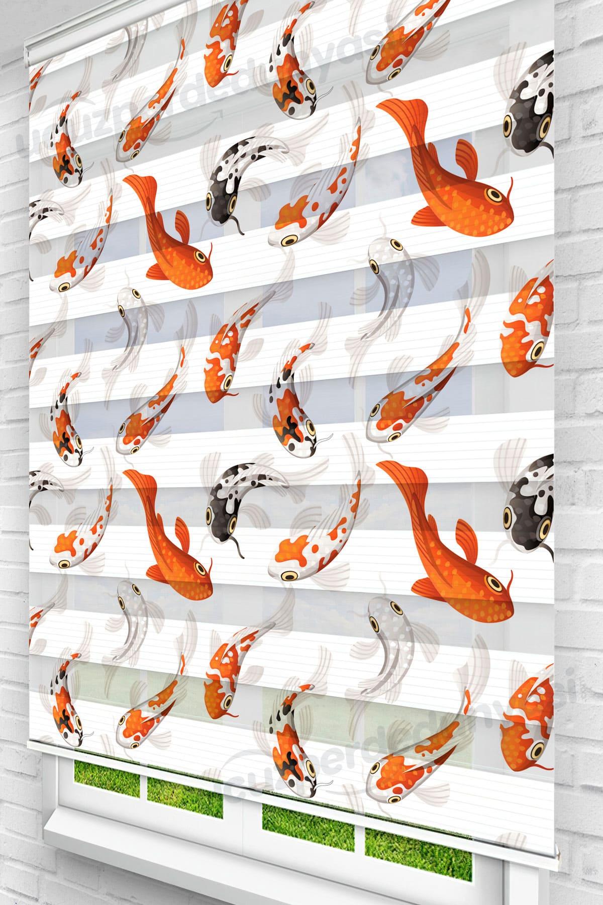 Turuncu Japon Balıkları Genç Odası Zebra Perde