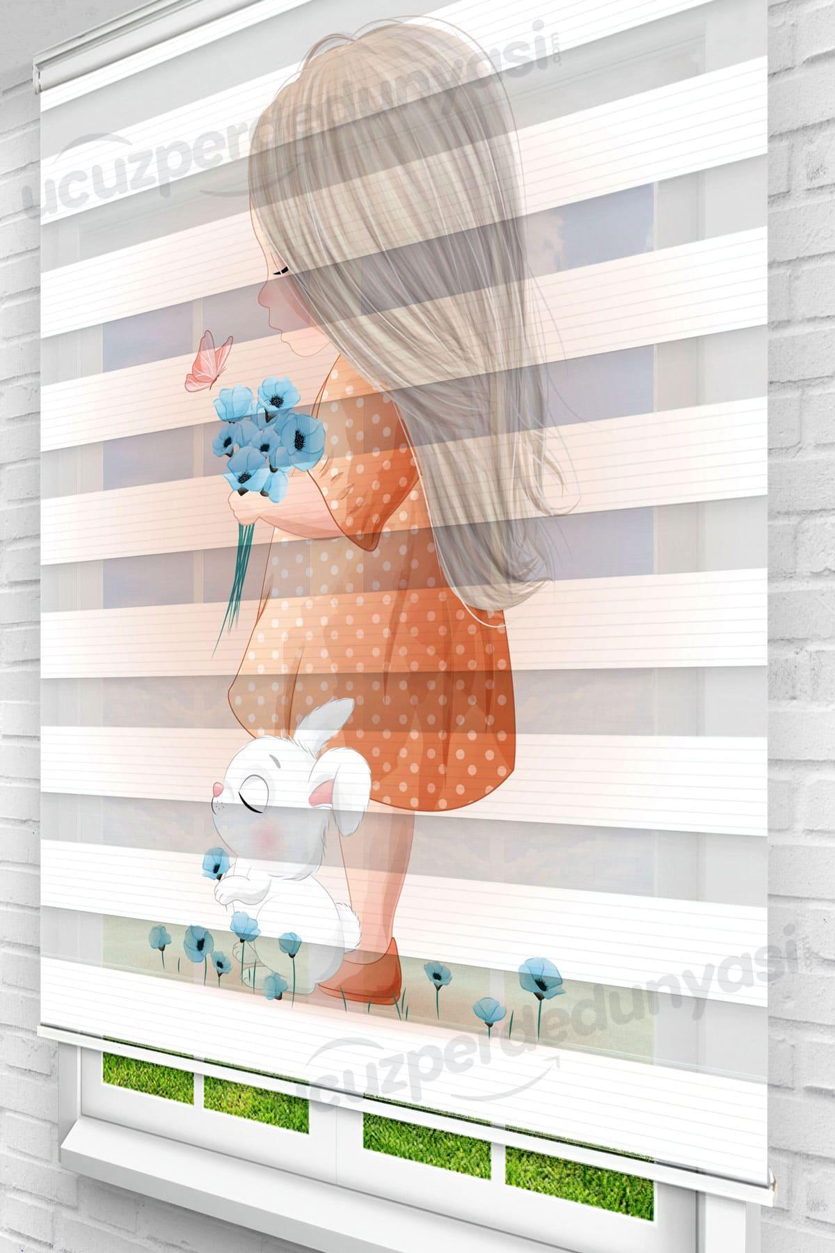 Turuncu Kız Çocuk Odası Zebra Perde