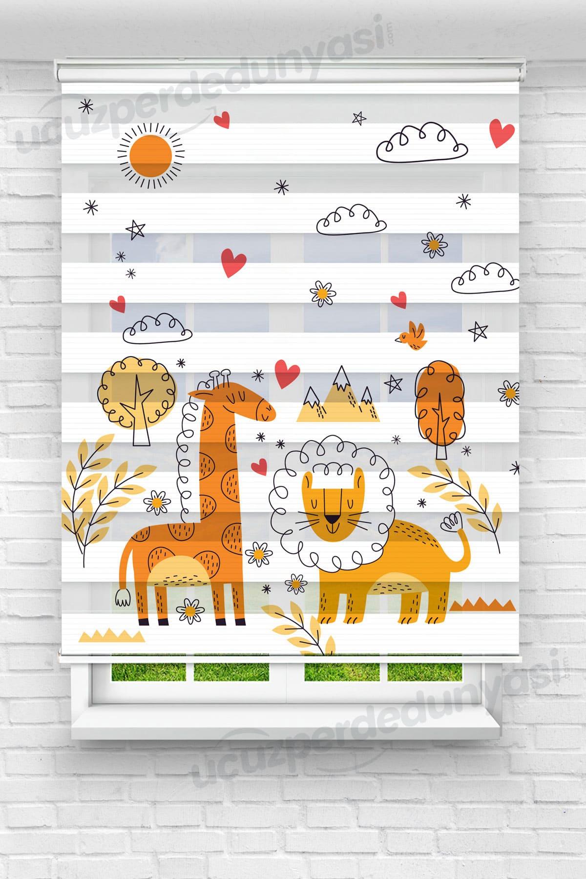 Turuncu Zürafaa ve Aslan Çocuk Odası Zebra Perde
