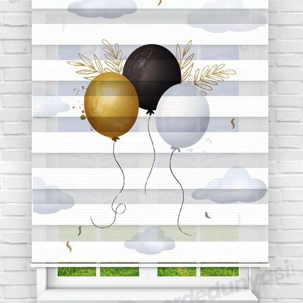 Uçan Balonlar Çocuk Odası Zebra Perde