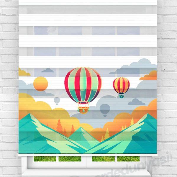 Uçan Balonlar ve Dağ Çocuk Odası Zebra Perde