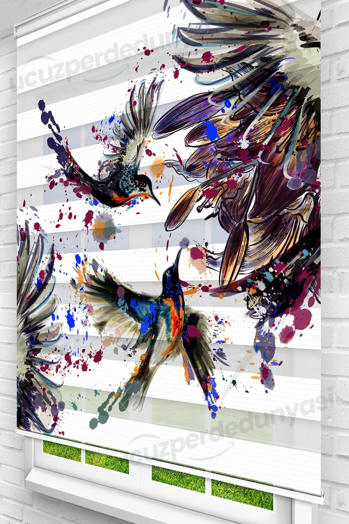 Uçan Sinek Kuşlar Genç Odası Zebra Perde
