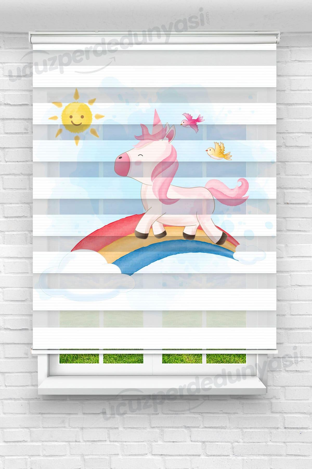 Unicorn ve Güneş Çocuk Odası Zebra Perde