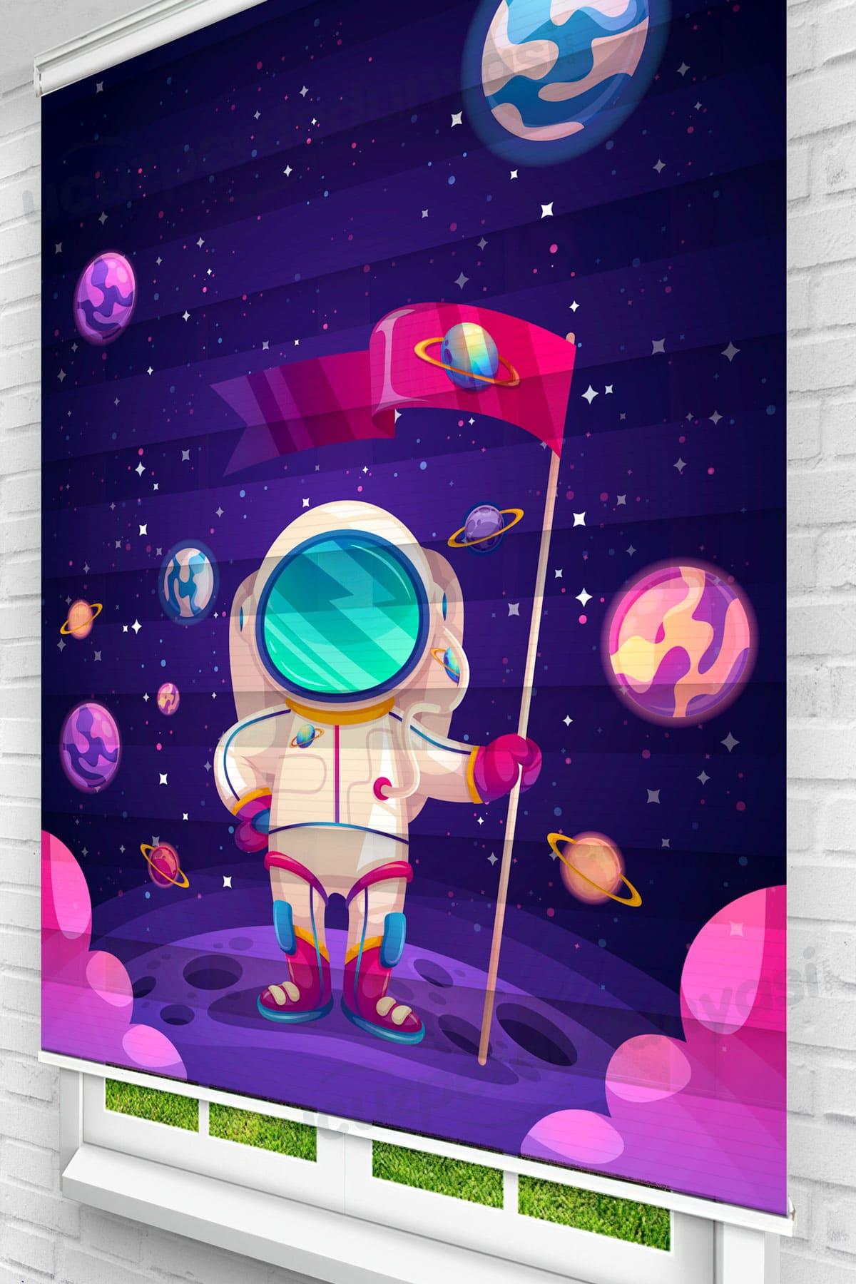 Uzaydaki Astronot Çocuk Odası Zebra Perde