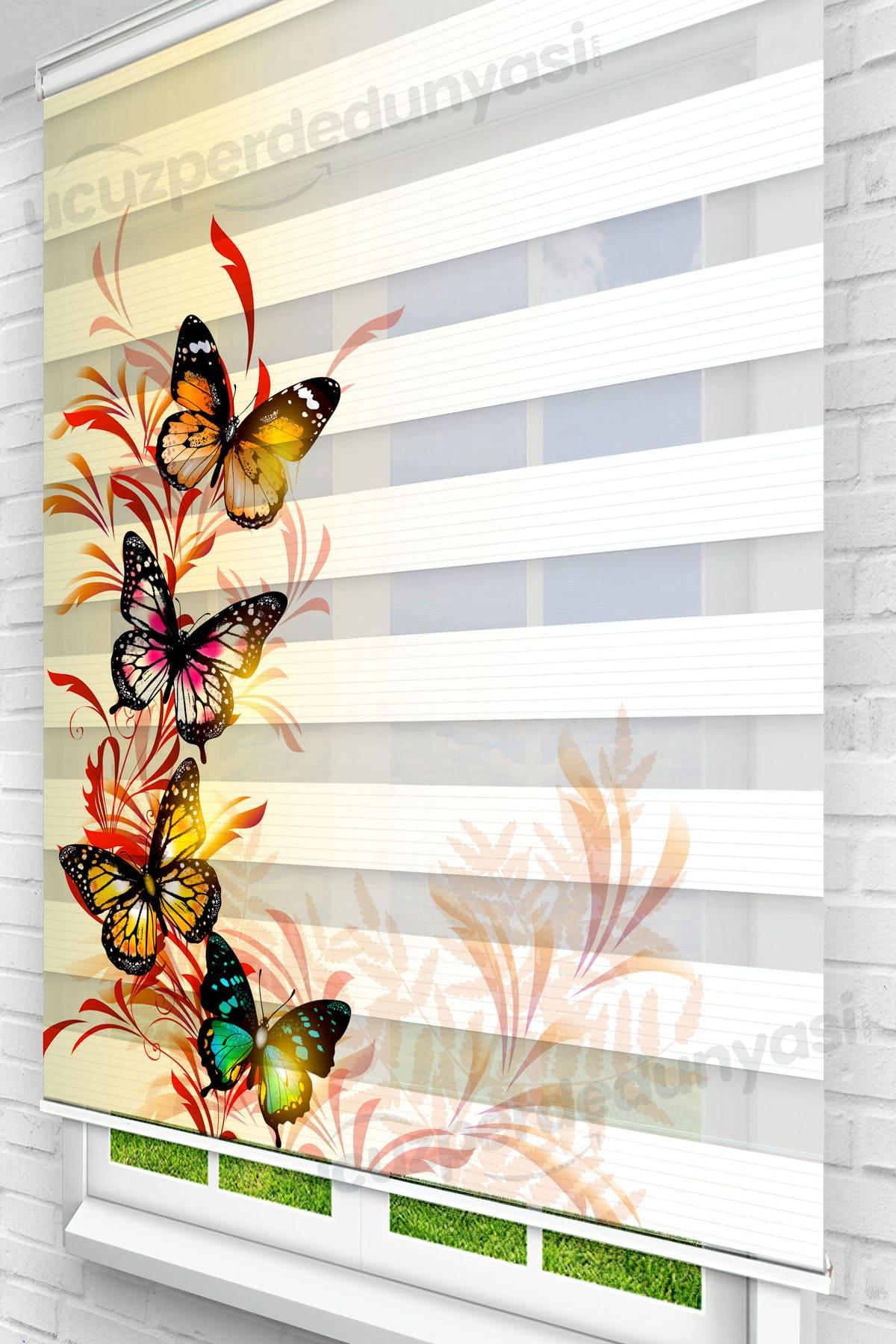 Yaprak Üstündeki Kelebekler Mutfak Zebra Perde