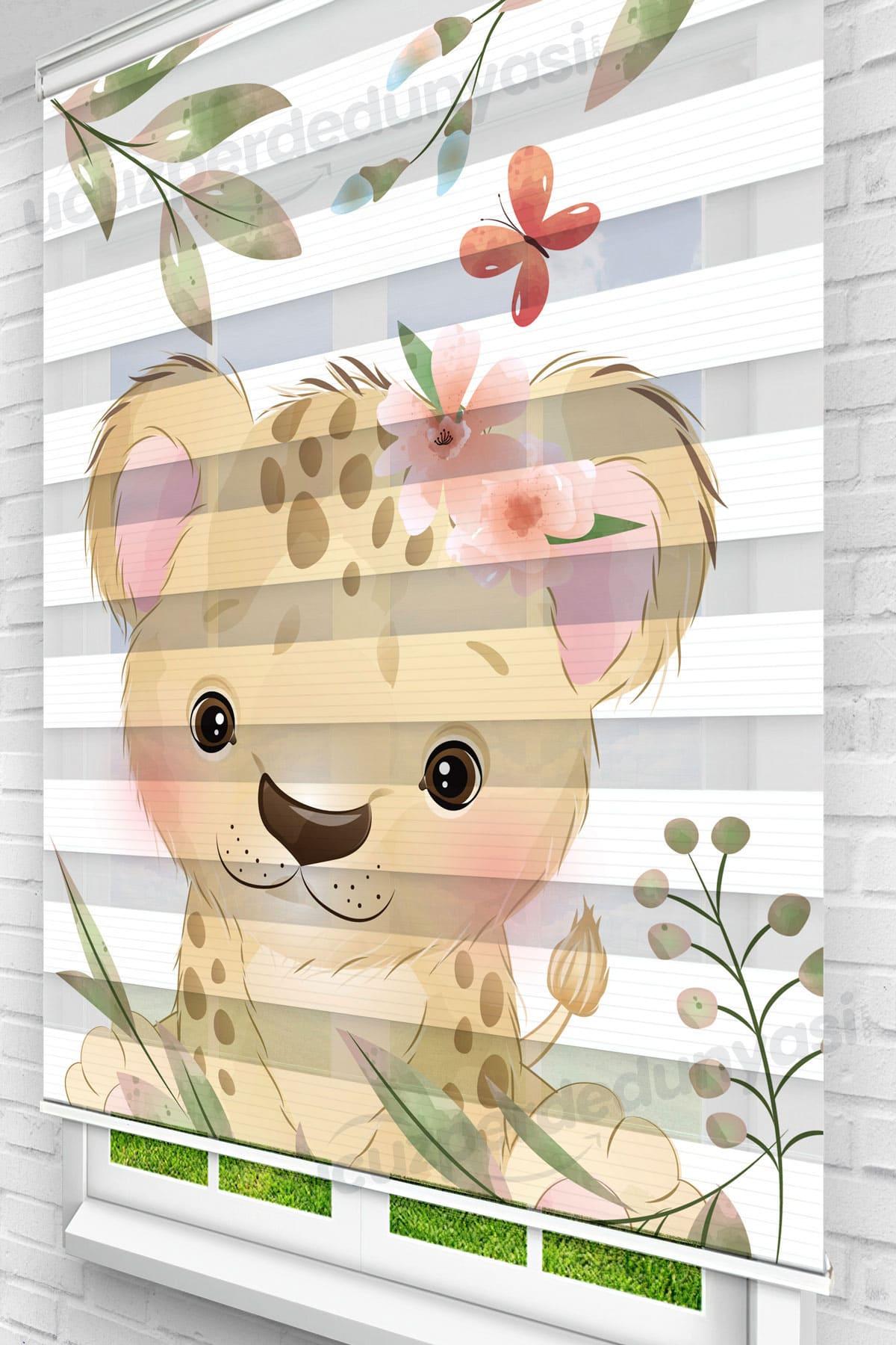 Yapraklar İçindeki Minik Aslan Çocuk Odası Zebra Perde