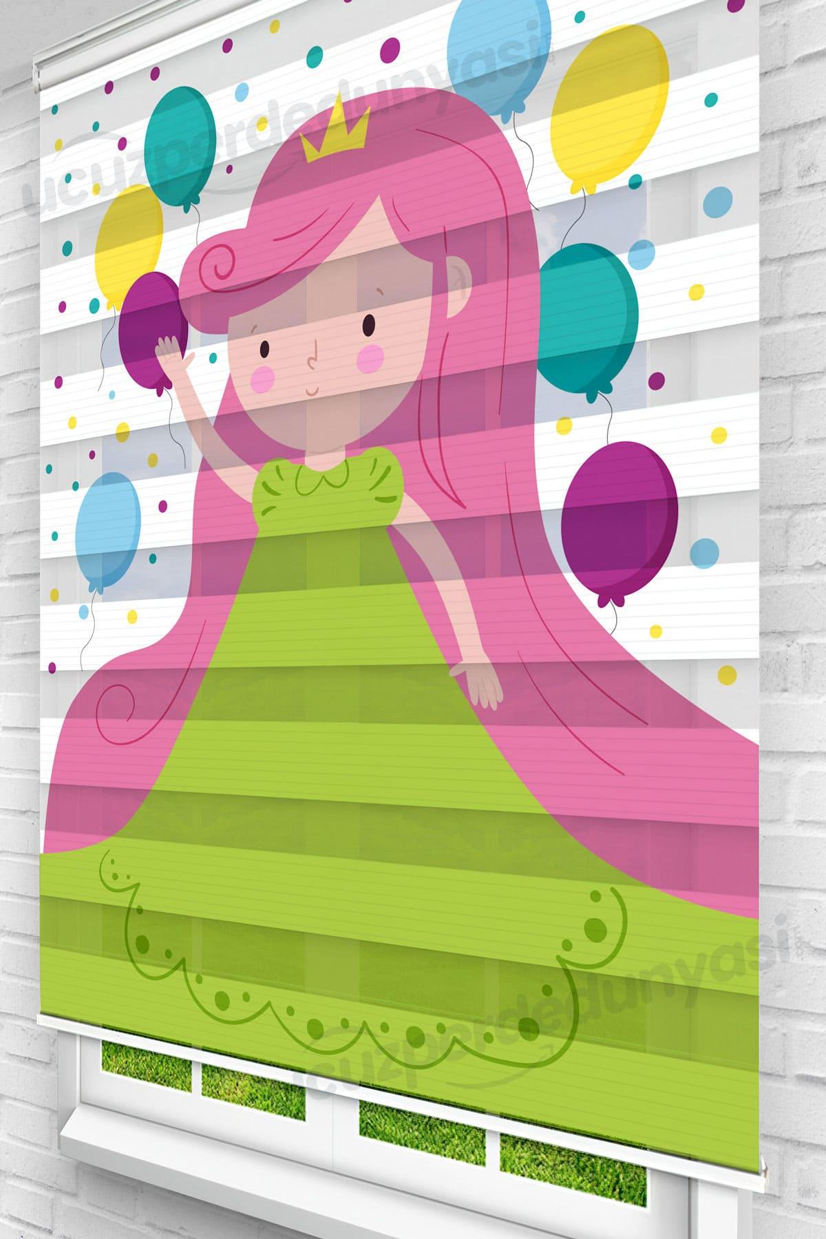 Yeşil Elbiseli Prenses Çocuk Odası Zebra Perde