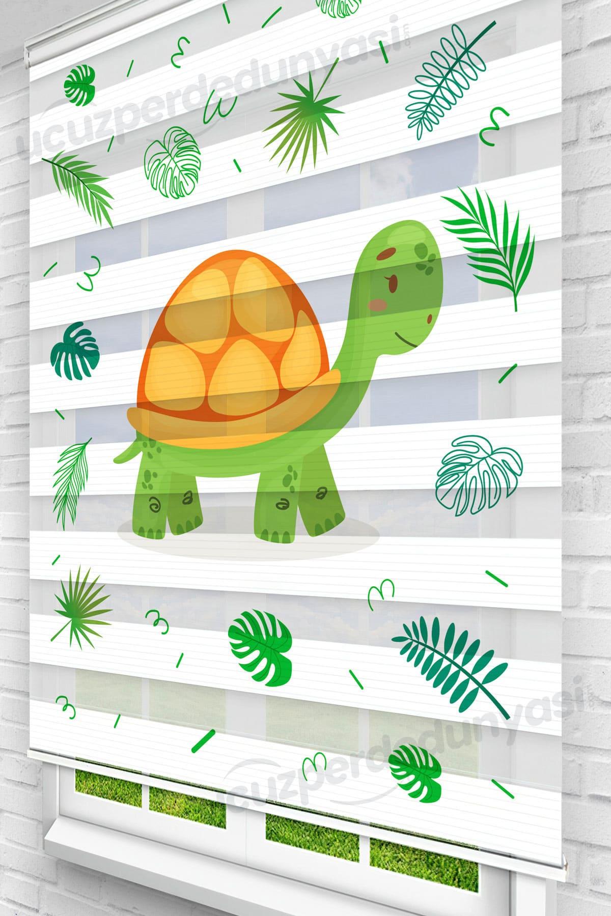 Yeşil Kaplumbağa Çocuk Odası Zebra Perde
