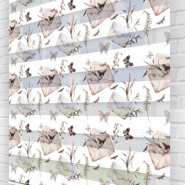 Zarf ve Kelebekler Mutfak Stor Zebra Perde