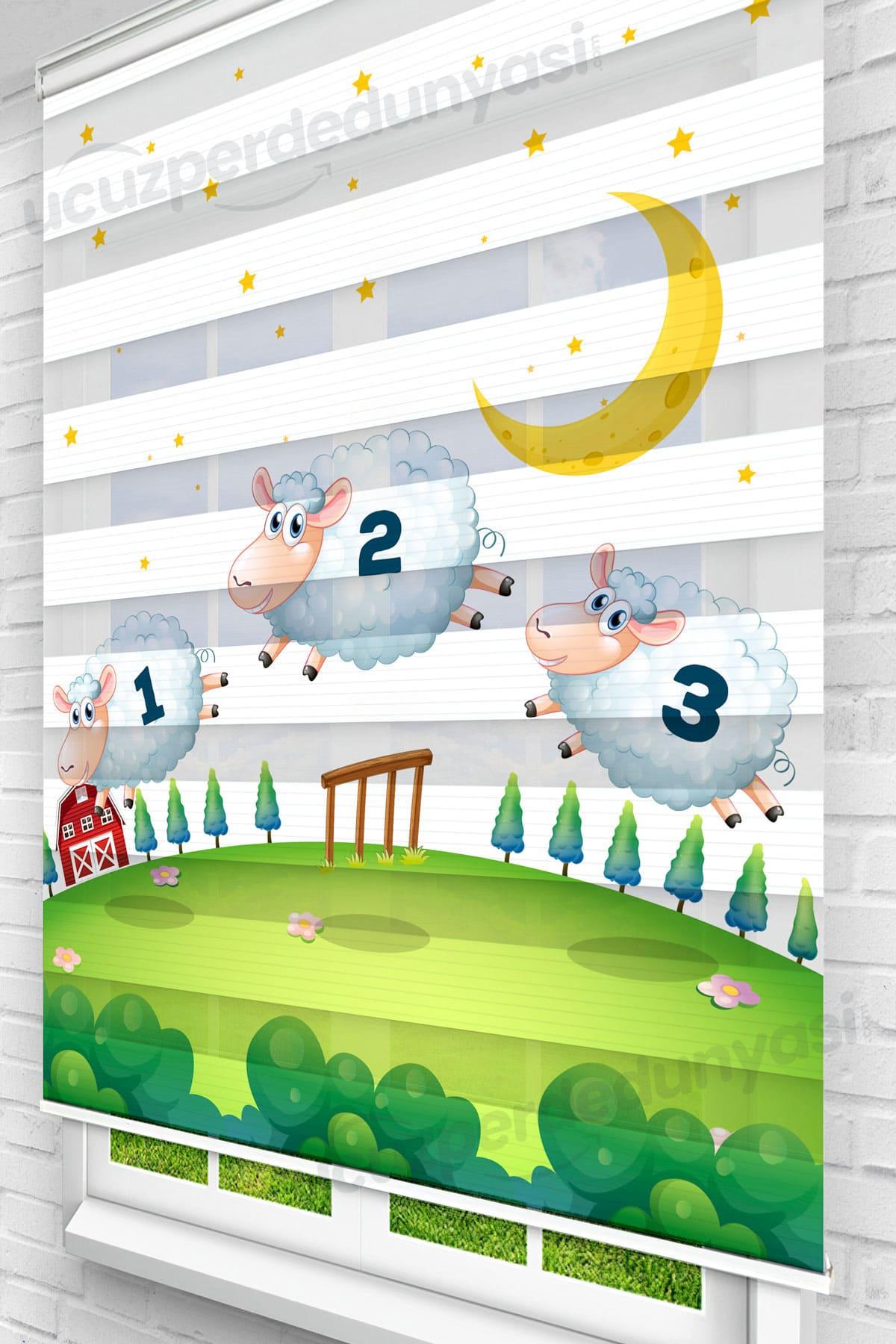 Zıplayan Kuzular Çocuk Odası Zebra Perde